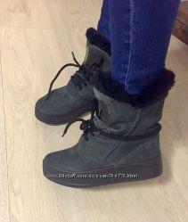 Ботинки - угги зима темно-серые натуральные