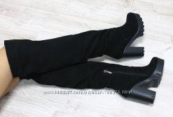 Сапоги - ботфорты зимние замшевые на удобном каблуке, черные