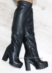 Сапоги - ботфорты зимние кожаные на удобном каблуке, черные