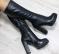 Сапоги зимние кожаные с молнией по всей длине на удобном каблуке