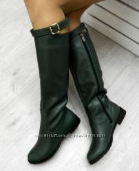 Сапоги кожаные зимние со съемным ремешком изумрудно-зеленого цвета, 36 р