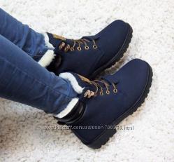 Ботинки зимние, синего цвета, на шнуровке