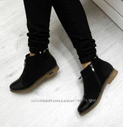 Ботинки натуральные короткие зимние с декором