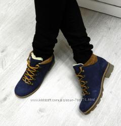 Ботинки натуральный нубук, синие, на шнуровке