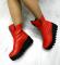 Ботинки кожаные зимние на тракторной подошве, красные