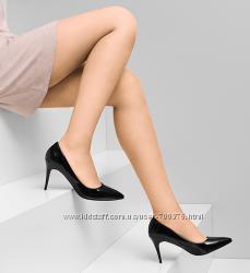 Туфли лодочки черные лаковые на небольшом каблуке