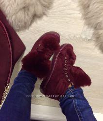 Ботинки утеплённые с мехом, цвет марсала