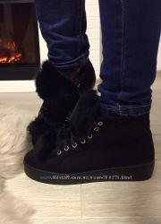 Ботинки утеплённые с мехом, черные