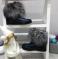 Ботинки кожаные синие с натуральным мехом чернобурка, 37 р.