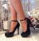 Туфли лаковые с ремешком, красная подошва