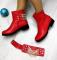 Ботинки демисезонные со съемным пояском с цепями, красные