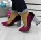 Туфли бархатные на толстом каблуке, сливового цвета