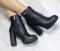 Ботинки кожаные черные с молнией на каблуке демисезон
