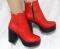 Ботинки кожаные красные