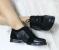 Туфли - броги кожаные, на шнуровке, черные