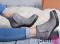 Ботинки серые на удобном каблуке