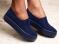 Слипоны, синие, текстиль, на толстой подошве
