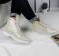 Ботинки кожаные на шнуровке, светлый беж
