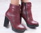 Ботинки кожаные на устойчивом каблуке, цвет марсала