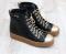 Кеды кожаные высокие черные с золотым носком