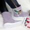 Сапоги замшевые с вышивкой пайетками, светло - фиолетовые