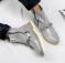 Ботинки кожаные серебристые с металлическим декором