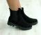 Ботинки замшевые на резинке, черные