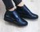 Ботинки хайтопы кожаные на липучке, синие