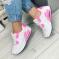 Кроссовки, белые  розовые вставки