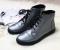 Ботинки весна кожаные, на шнурках и молнии, серебро