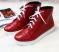 Ботинки весна кожаные, на шнурках и молнии, красные