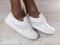 Кеды - криперы кожаные белые, с серебристыми вставками