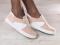 Кеды - криперы замшевые пудровые с кожаными белыми вставками