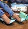 Туфли лодочки мятного цвета, с силиконовыми вставками