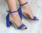 Босоножки замшевые на устойчивом каблуке, синие