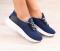 Кроссовки замшевые синие, на белой подошве