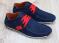 Туфли - мокасины мужские, нубук, синие с красным
