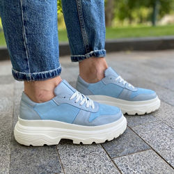 Кроссовки Jane, натуральная кожа и замша, голубые, деми/зима