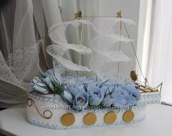 Сладкий подарок из конфет Синий Корабль