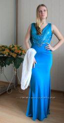 Вечернее турецкое бирюзовое платье, скидки к Новому году