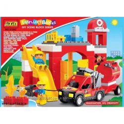 Конструктор JIXIN Пожарная станция 9188С, 61 дет, от 3 лет.
