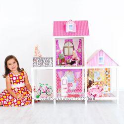 Двухэтажный кукольный домик с мебелью 66883. В комплекте с куколами
