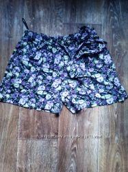 Шорты юбка в цветочный принт