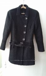 Пальто буклированное черное