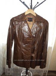 Пиджак женский кожаный коричневый