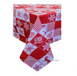 Скатерть Новогодняя праздничная, фартух, прихватки, рукавичка, салфетки