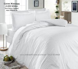 Белое однотонное постельное белье, сатин, бамбук, жаккард. Турция