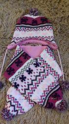 Набор шапка шарф для девочки 2-3 лет в отличном состоянии
