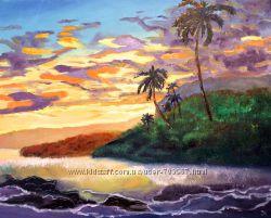 Живопись маслом, картина Таинственный остров. Размер 5040 см