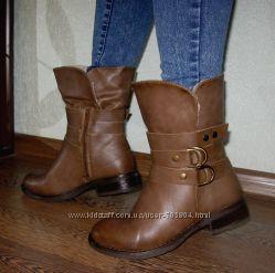 Крутые зимние ботинки полусапожки на овчине Качество ЭКО-кожа Польша